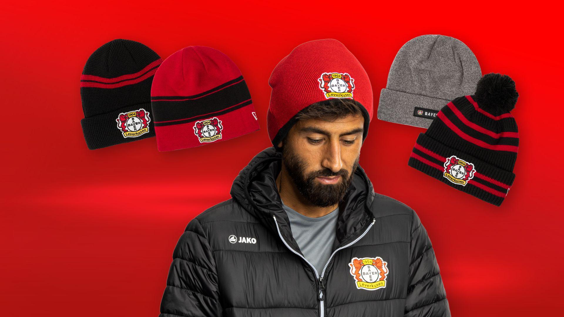 Kerem Demirbay mit der Beani Logo Rot im Vordergrund. Im HIntergrund sind die vier weitere Mützen abgebildet.
