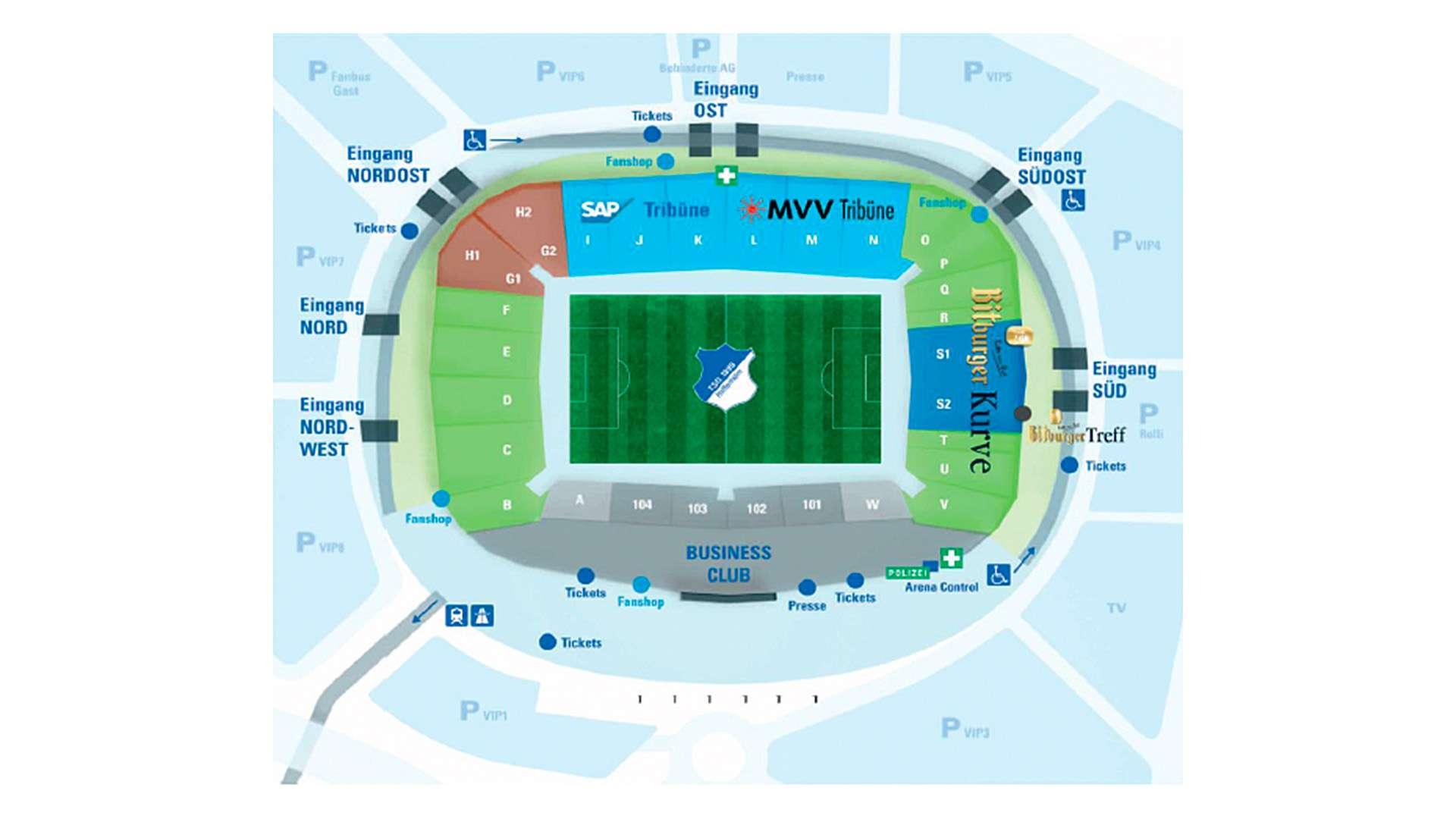 Stadionplan Hoffenheim